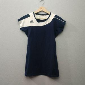 Adidas Blue White Tunic Athletic Top Asymmetrical